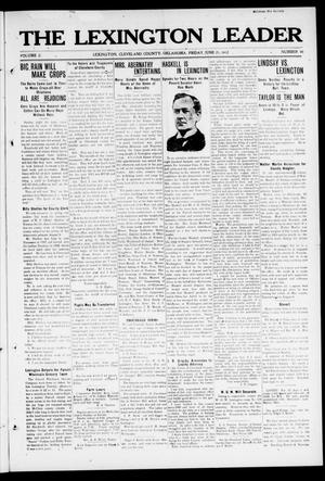 Primary view of object titled 'The Lexington Leader (Lexington, Okla.), Vol. 21, No. 40, Ed. 1 Friday, June 21, 1912'.