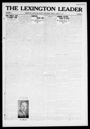 Primary view of object titled 'The Lexington Leader (Lexington, Okla.), Vol. 21, No. 46, Ed. 1 Friday, August 2, 1912'.
