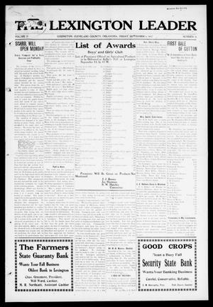 Primary view of object titled 'The Lexington Leader (Lexington, Okla.), Vol. 21, No. 51, Ed. 1 Friday, September 6, 1912'.