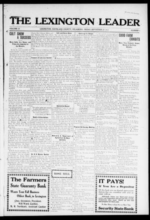 Primary view of object titled 'The Lexington Leader (Lexington, Okla.), Vol. 22, No. 1, Ed. 1 Friday, September 20, 1912'.