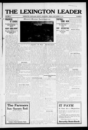 Primary view of object titled 'The Lexington Leader (Lexington, Okla.), Vol. 22, No. 2, Ed. 1 Friday, September 27, 1912'.