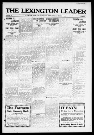 Primary view of object titled 'The Lexington Leader (Lexington, Okla.), Vol. 22, No. 3, Ed. 1 Friday, October 4, 1912'.