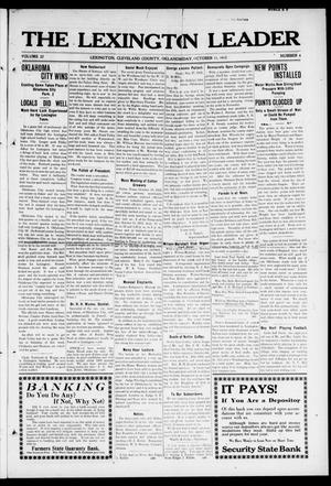 Primary view of object titled 'The Lexington Leader (Lexington, Okla.), Vol. 22, No. 4, Ed. 1 Friday, October 11, 1912'.