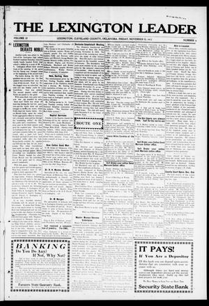 Primary view of object titled 'The Lexington Leader (Lexington, Okla.), Vol. 22, No. 9, Ed. 1 Friday, November 15, 1912'.