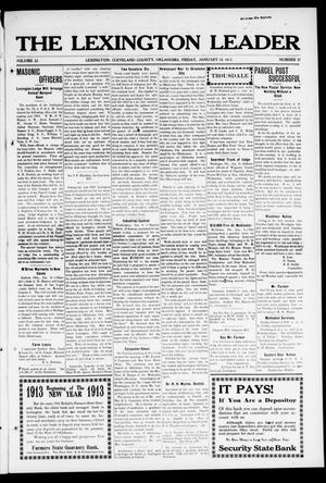 Primary view of object titled 'The Lexington Leader (Lexington, Okla.), Vol. 22, No. 17, Ed. 1 Friday, January 10, 1913'.