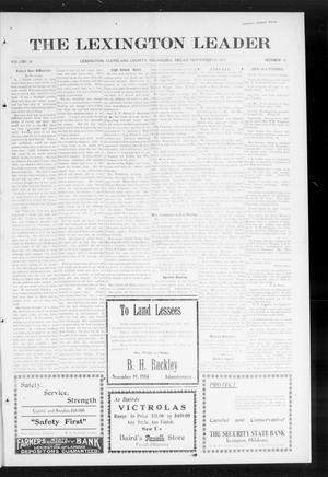 Primary view of object titled 'The Lexington Leader (Lexington, Okla.), Vol. 24, No. 10, Ed. 1 Friday, November 20, 1914'.