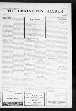 Primary view of object titled 'The Lexington Leader (Lexington, Okla.), Vol. 24, No. 15, Ed. 1 Friday, December 25, 1914'.