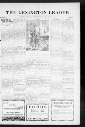 Primary view of object titled 'The Lexington Leader (Lexington, Okla.), Vol. 24, No. 24, Ed. 1 Friday, February 26, 1915'.