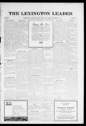 Primary view of object titled 'The Lexington Leader (Lexington, Okla.), Vol. 25, No. 16, Ed. 1 Friday, December 31, 1915'.