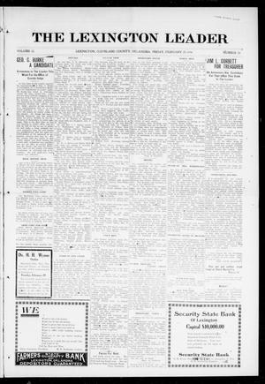 Primary view of object titled 'The Lexington Leader (Lexington, Okla.), Vol. 25, No. 24, Ed. 1 Friday, February 25, 1916'.