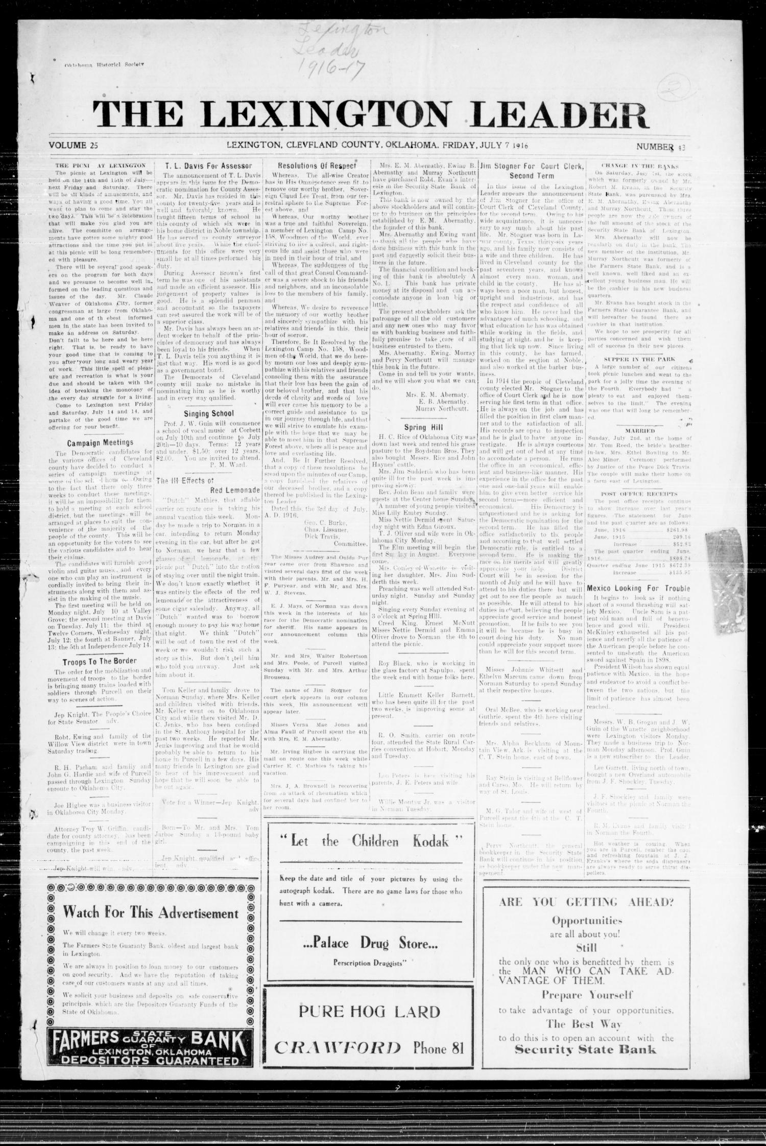 The Lexington Leader (Lexington, Okla.), Vol. 25, No. 43, Ed. 1 Friday, July 7, 1916                                                                                                      [Sequence #]: 1 of 8