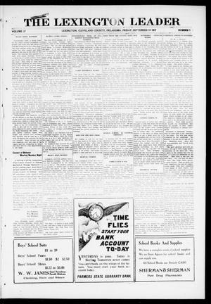 Primary view of object titled 'The Lexington Leader (Lexington, Okla.), Vol. 27, No. 1, Ed. 1 Friday, September 14, 1917'.