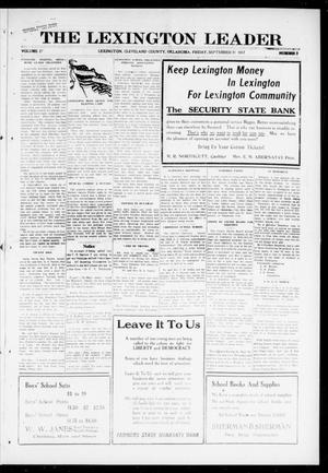 Primary view of object titled 'The Lexington Leader (Lexington, Okla.), Vol. 27, No. 2, Ed. 1 Friday, September 21, 1917'.
