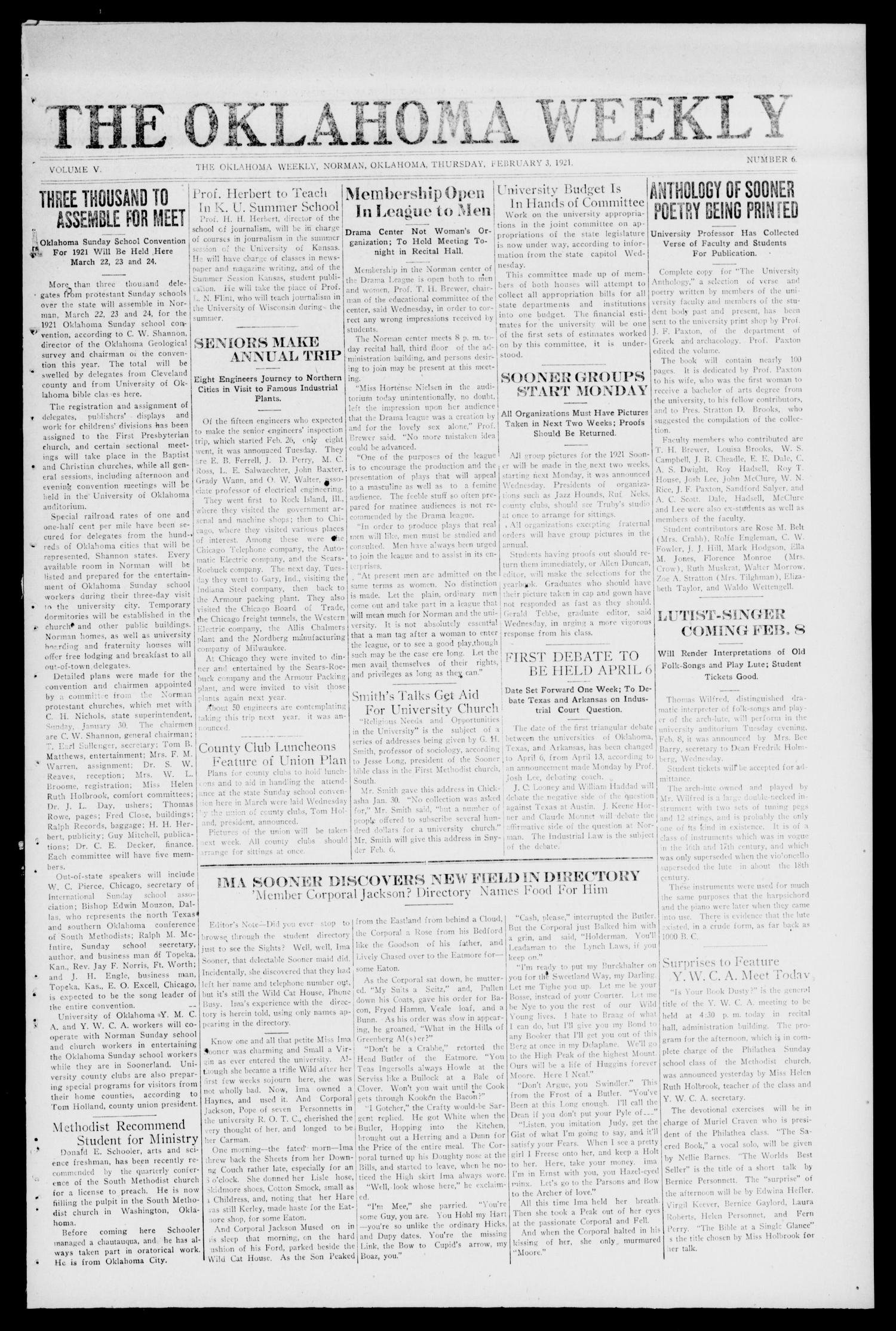 The Oklahoma Weekly (Norman, Okla.), Vol. 5, No. 6, Ed. 1 Thursday, February 3, 1921                                                                                                      [Sequence #]: 1 of 4