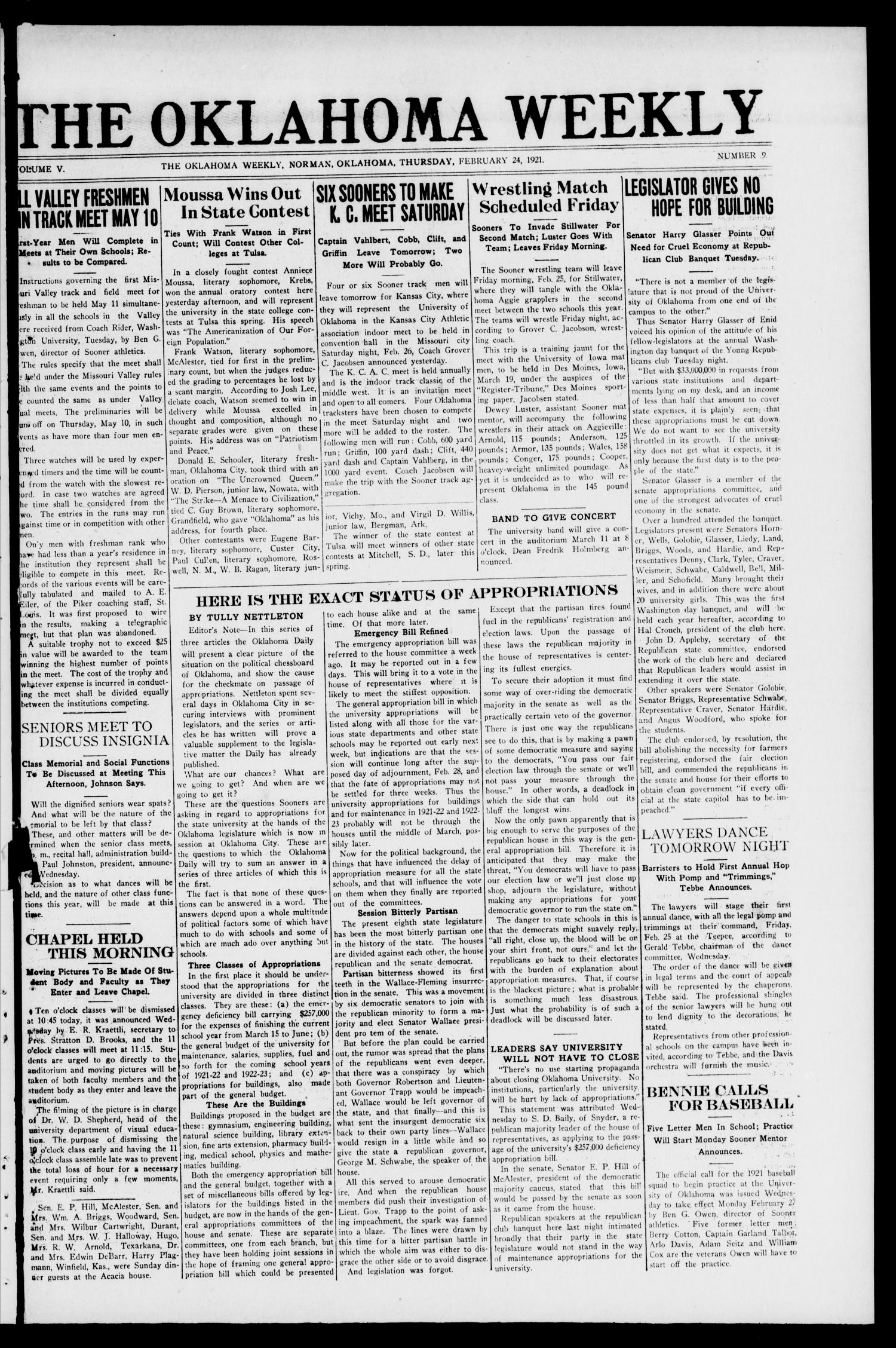 The Oklahoma Weekly (Norman, Okla.), Vol. 5, No. 9, Ed. 1 Thursday, February 24, 1921                                                                                                      [Sequence #]: 1 of 4