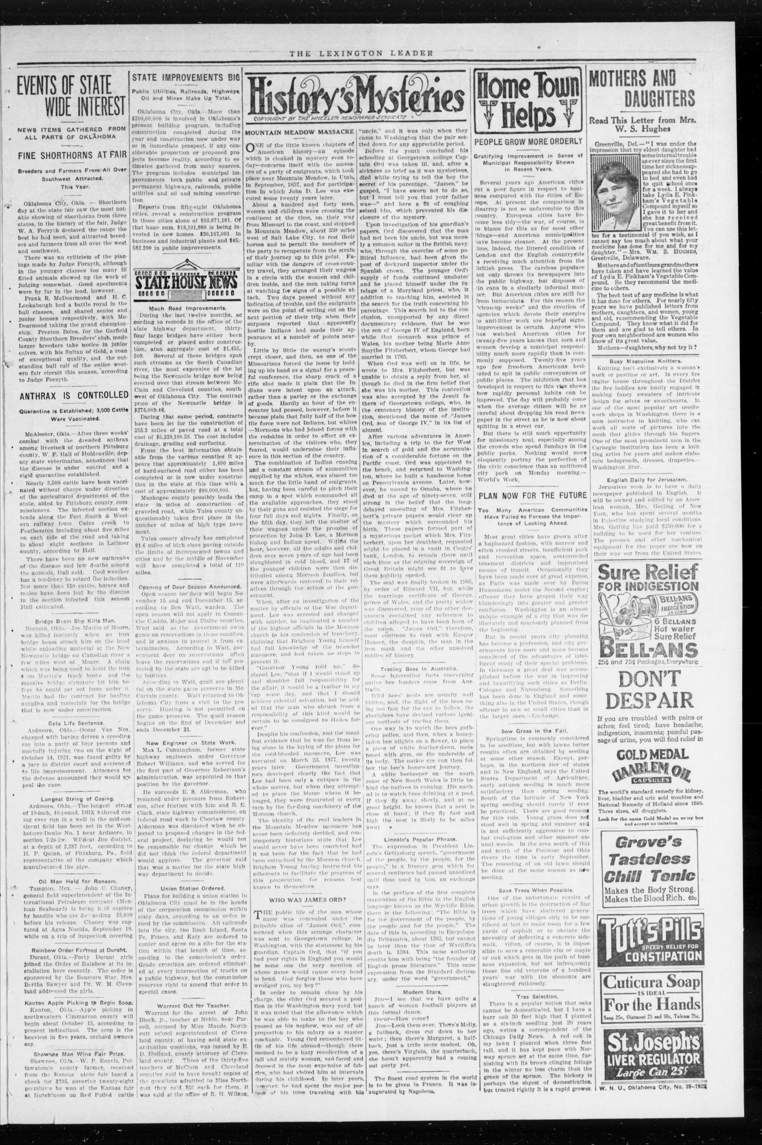 The Lexington Leader (Lexington, Okla.), Vol. 32, No. 21, Ed. 1 Monday, October 2, 1922                                                                                                      [Sequence #]: 3 of 8