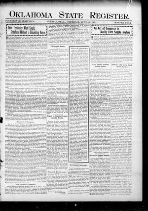 Primary view of object titled 'Oklahoma State Register. (Guthrie, Okla.), Vol. 14, No. 28, Ed. 1 Thursday, July 13, 1905'.