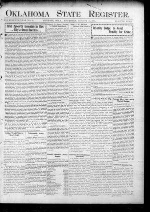 Primary view of object titled 'Oklahoma State Register. (Guthrie, Okla.), Vol. 14, No. 33, Ed. 1 Thursday, August 17, 1905'.