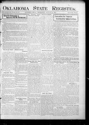 Primary view of object titled 'Oklahoma State Register. (Guthrie, Okla.), Vol. 14, No. 34, Ed. 1 Thursday, August 24, 1905'.