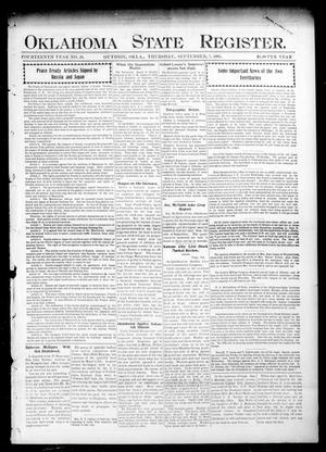 Primary view of object titled 'Oklahoma State Register. (Guthrie, Okla.), Vol. 14, No. 36, Ed. 1 Thursday, September 7, 1905'.