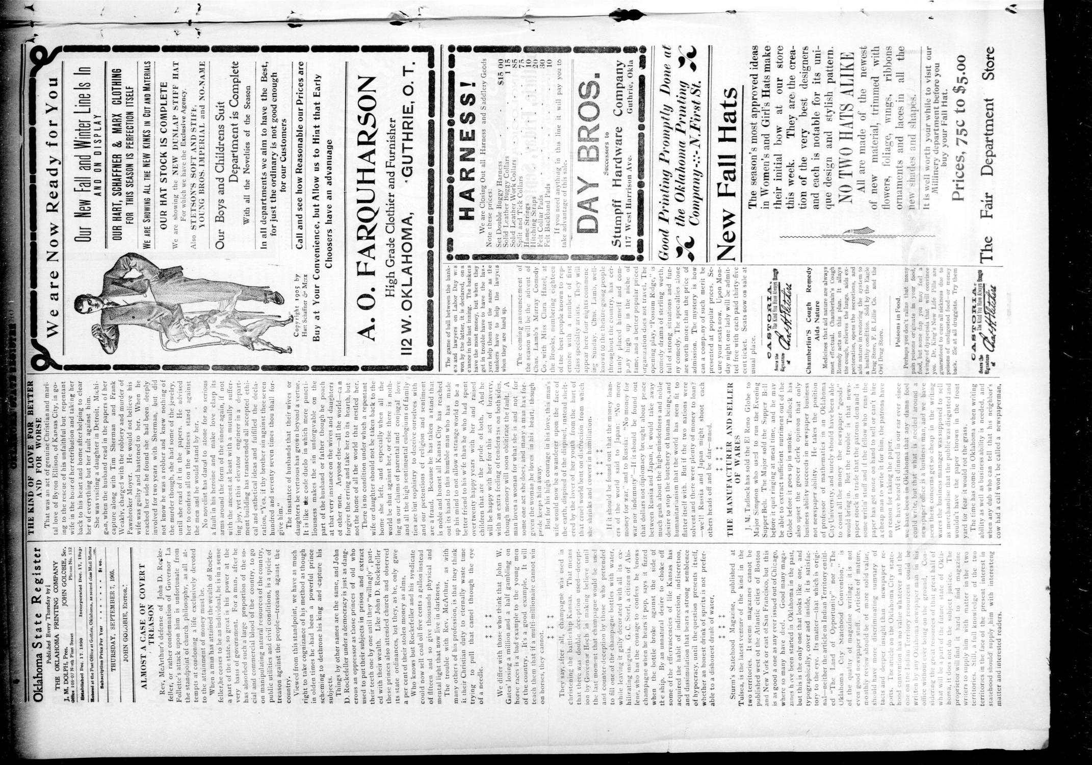 Oklahoma State Register. (Guthrie, Okla.), Vol. 14, No. 36, Ed. 1 Thursday, September 7, 1905                                                                                                      [Sequence #]: 4 of 8
