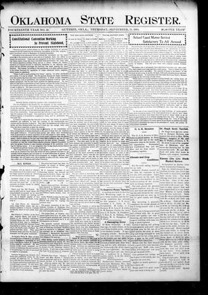 Primary view of object titled 'Oklahoma State Register. (Guthrie, Okla.), Vol. 14, No. 39, Ed. 1 Thursday, September 28, 1905'.