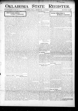 Primary view of object titled 'Oklahoma State Register. (Guthrie, Okla.), Vol. 14, No. 41, Ed. 1 Thursday, October 12, 1905'.