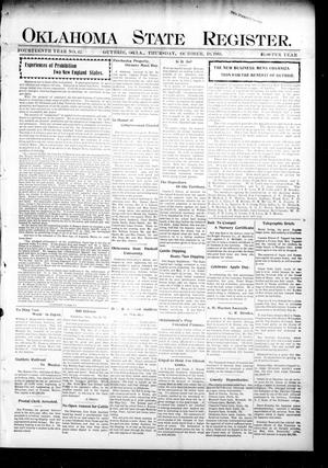 Primary view of object titled 'Oklahoma State Register. (Guthrie, Okla.), Vol. 14, No. 42, Ed. 1 Thursday, October 19, 1905'.