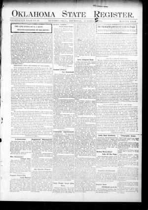 Primary view of object titled 'Oklahoma State Register. (Guthrie, Okla.), Vol. 14, No. 43, Ed. 1 Thursday, October 26, 1905'.