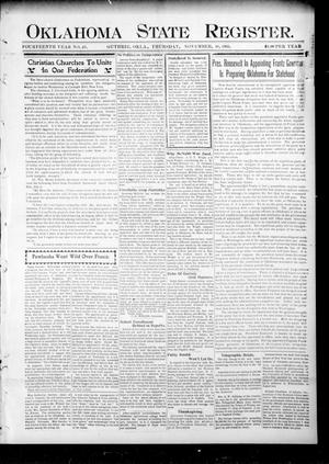 Primary view of object titled 'Oklahoma State Register. (Guthrie, Okla.), Vol. 14, No. 46, Ed. 1 Thursday, November 16, 1905'.