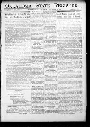 Primary view of object titled 'Oklahoma State Register. (Guthrie, Okla.), Vol. 14, No. 48, Ed. 1 Thursday, November 30, 1905'.