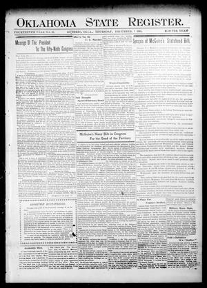 Primary view of object titled 'Oklahoma State Register. (Guthrie, Okla.), Vol. 14, No. 49, Ed. 1 Thursday, December 7, 1905'.