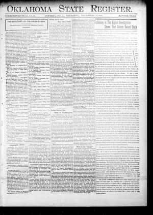 Primary view of object titled 'Oklahoma State Register. (Guthrie, Okla.), Vol. 14, No. 50, Ed. 1 Thursday, December 14, 1905'.