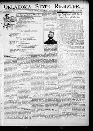 Primary view of object titled 'Oklahoma State Register. (Guthrie, Okla.), Vol. 14, No. 51, Ed. 1 Thursday, December 21, 1905'.