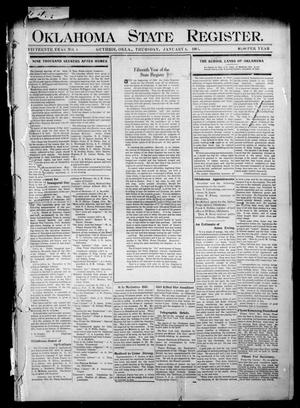Primary view of object titled 'Oklahoma State Register. (Guthrie, Okla.), Vol. 15, No. 1, Ed. 1 Thursday, January 4, 1906'.
