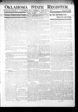 Primary view of object titled 'Oklahoma State Register. (Guthrie, Okla.), Vol. 15, No. 7, Ed. 1 Thursday, February 15, 1906'.