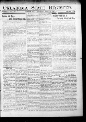 Primary view of object titled 'Oklahoma State Register. (Guthrie, Okla.), Vol. 15, No. 13, Ed. 1 Thursday, March 29, 1906'.