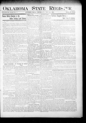 Primary view of object titled 'Oklahoma State Register. (Guthrie, Okla.), Vol. 15, No. 17, Ed. 1 Thursday, May 10, 1906'.