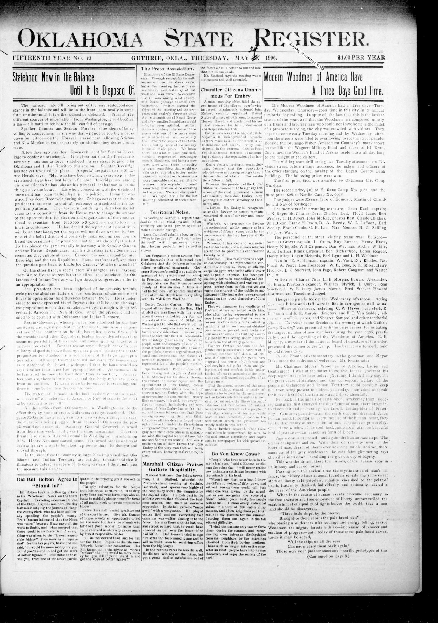 Oklahoma State Register. (Guthrie, Okla.), Vol. 15, No. 19, Ed. 1 Thursday, May 24, 1906                                                                                                      [Sequence #]: 1 of 8