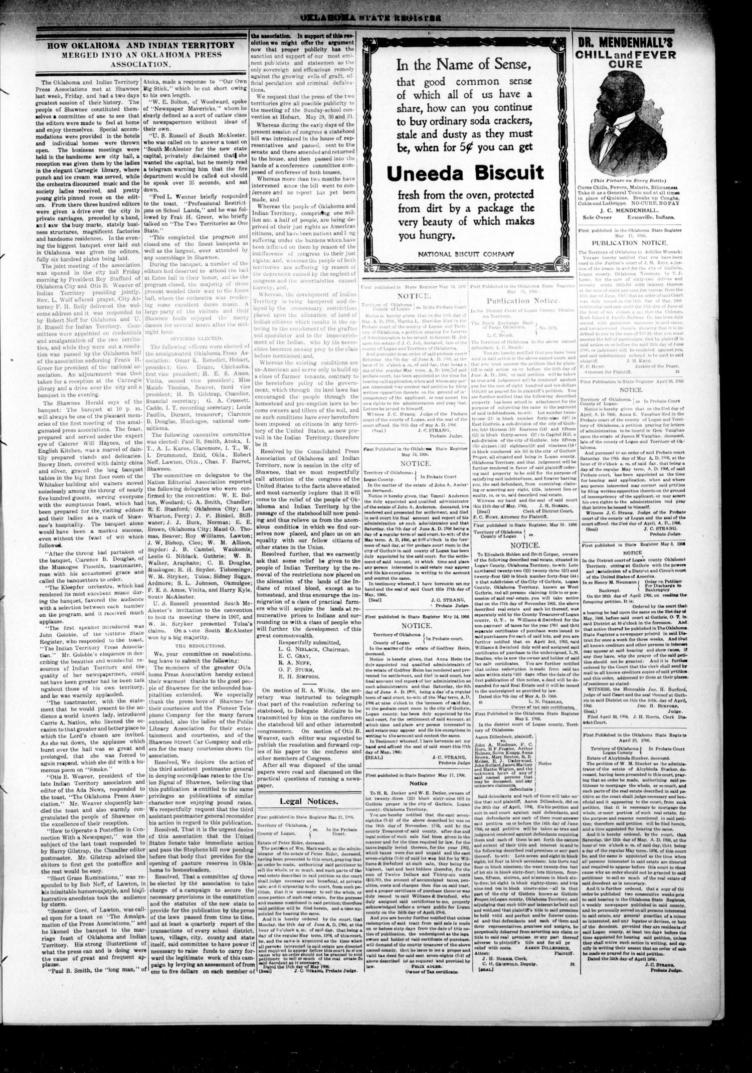 Oklahoma State Register. (Guthrie, Okla.), Vol. 15, No. 19, Ed. 1 Thursday, May 24, 1906                                                                                                      [Sequence #]: 7 of 8