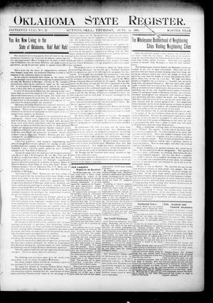 Primary view of object titled 'Oklahoma State Register. (Guthrie, Okla.), Vol. 15, No. 22, Ed. 1 Thursday, June 14, 1906'.