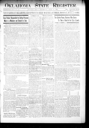 Primary view of object titled 'Oklahoma State Register. (Guthrie, Okla.), Vol. 15, No. 24, Ed. 1 Thursday, June 28, 1906'.