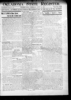Primary view of object titled 'Oklahoma State Register. (Guthrie, Okla.), Vol. 15, No. 25, Ed. 1 Thursday, July 12, 1906'.