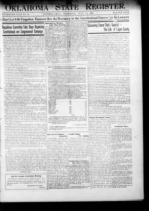 Primary view of object titled 'Oklahoma State Register. (Guthrie, Okla.), Vol. 15, No. 26, Ed. 1 Thursday, July 19, 1906'.