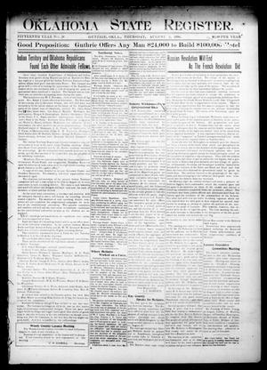 Primary view of object titled 'Oklahoma State Register. (Guthrie, Okla.), Vol. 15, No. 28, Ed. 1 Thursday, August 2, 1906'.