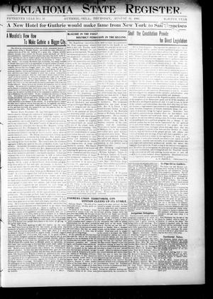 Primary view of object titled 'Oklahoma State Register. (Guthrie, Okla.), Vol. 15, No. 32, Ed. 1 Thursday, August 30, 1906'.