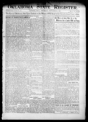 Primary view of object titled 'Oklahoma State Register. (Guthrie, Okla.), Vol. 15, No. 33, Ed. 1 Thursday, September 6, 1906'.