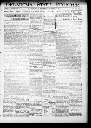 Primary view of object titled 'Oklahoma State Register. (Guthrie, Okla.), Vol. 15, No. 37, Ed. 1 Thursday, October 11, 1906'.