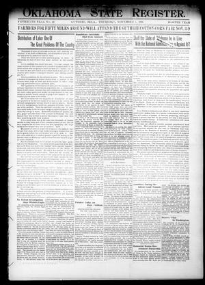 Primary view of object titled 'Oklahoma State Register. (Guthrie, Okla.), Vol. 15, No. 40, Ed. 1 Thursday, November 1, 1906'.