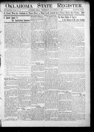 Primary view of object titled 'Oklahoma State Register. (Guthrie, Okla.), Vol. 15, No. 48, Ed. 1 Thursday, December 27, 1906'.
